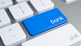 Bank - Text on the Blue Keyboard Button. 3D.
