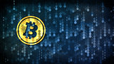 Bitcoin - Pictogram on Dark Digital Background.