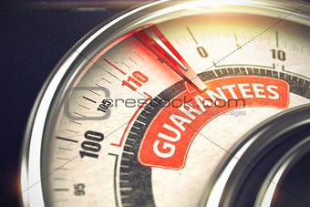 Guarantees - Text on Conceptual Gauge with Red Needle. 3D.