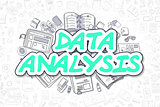 Data Analysis - Doodle Green Word. Business Concept.