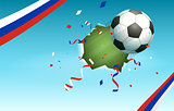 Soccer ball and flag of Russia symbol of football