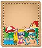 Children snorkel divers parchment 1