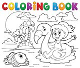Coloring book girl on flamingo float 2