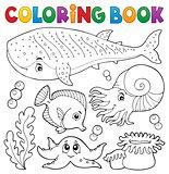 Coloring book ocean life theme 1