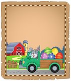 Parchment with Easter truck near farm