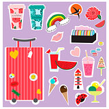Stickers summer and travel collection. Perfect for web, card, poster, cover, tag, invitation, sticker kit. Vector illustration.