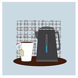Coffee time. Illusration with cup of coffee and teapot. Vector poster concept.