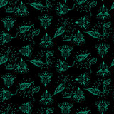 Dark green and black ethnic and foliage seamless vector pattern.