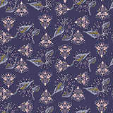 Fusion of ethnic and foliage purple seamless vector pattern.