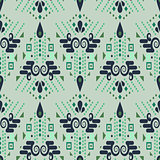 Ethnic geometric mint green summer seamless vector pattern.