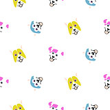 Funny dogs animal seamless vector pattern.