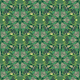 Green mandala seamless vector pattern.