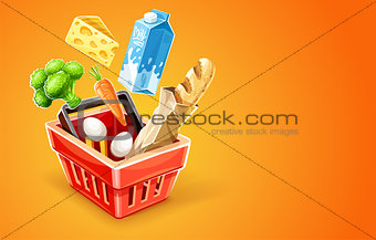 Shopping basket with organic food