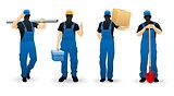 Worker people set of man cartoon personage