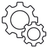 vector illustration of Cog Settings icon. line flat