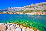 Makarska turquoise waterfront and Biokovo mountain view