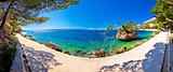 Idyllic islet on Punta Rata beach in Brela panoramic view