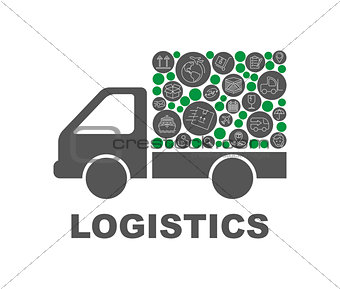 Color circles, flat icons in a truck shape distribution, delivery, service, shipping, logistic, transport, market concepts. Abstract background with connected objects Vector illustration