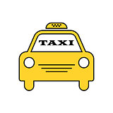 Yellow taxi car. Logotype for website, stickers and other