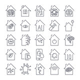 Simple set of smart house related line icons. Smart Home and Technology icons set. Editable Stroke.