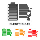 Electric car premium illustration icon, isolated, color on white background, with text elements.