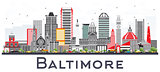 Baltimore Maryland City Skyline with Gray Buildings Isolated on