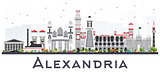Alexandria Egypt City Skyline with Gray Buildings Isolated on Wh