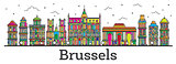 Outline Brussels Belgium City Skyline with Color Buildings Isola