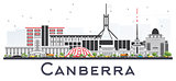 Canberra Australia City Skyline with Gray Buildings Isolated on