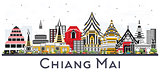 Chiang Mai Thailand City Skyline with Color Buildings Isolated o