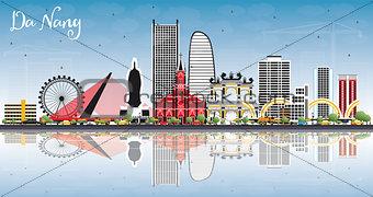 Da Nang Vietnam City Skyline with Color Buildings, Blue Sky and