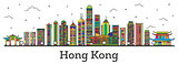 Outline Hong Kong China City Skyline with Color Buildings Isolat