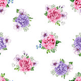 Apple tree, roses, hydrangea flowers petals and leaves in watercolor style on white background. Seamless pattern for textile, wrapping paper, package