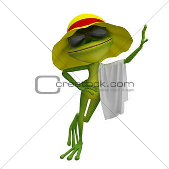 3D Illustration of the Frog in Yellow Panama with Towel