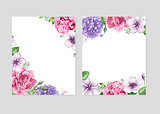Floral blank template set. Flowers in watercolor style isolated on white background for web banners, polygraphy, wedding invitation, border.