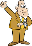 Cartoon Man Looking at His Watch and Giving Thumbs Up