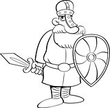 Cartoon Medieval Knight Holding a Shield and a Sword