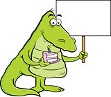 Cartoon Alligator Holding a Piece of Cake and a Sign