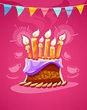 Chocolate birthday cake with cream burning candles