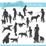 Kids and family with dog vector silhouettes