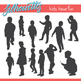 Kids have fun vector silhouettes