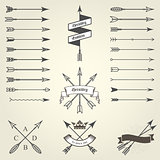 Set of emblems and blazons with arrows, heraldic seals - coat of