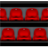 Row of stadium seating - sport arena, red plastic chairs front v