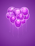 Heart made of purple air balloons