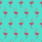 Flamingo Mint Seamless Pattern