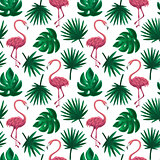 Flamingo Tropical Leaf Seamless Pattern