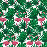 Flamingos Nature Leaf Seamless Pattern