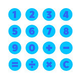 Numbers and Mathematical Symbols. Vector Icons