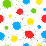 Vector seamless pattern with color paint splashes
