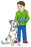 boy with dalamtian dog cartoon illustration